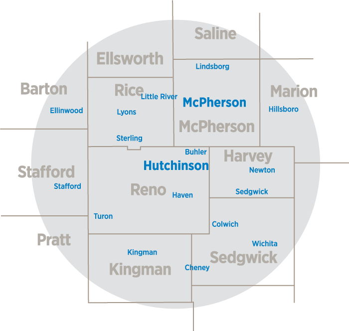 Service area of Hutchinson Regional Medical Center covering all of Rice, McPherson, Reno, and Harvey counties, along with portions of Barton, Ellsworth, Saline, Marion, Sedgwick, Kingman, Pratt, and Stafford counties.